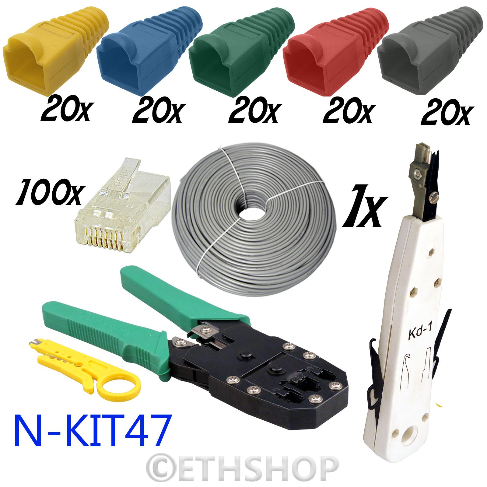100m rj45 cat5e network ethernet cable crimper tester cutter punch down tool kit ebay. Black Bedroom Furniture Sets. Home Design Ideas