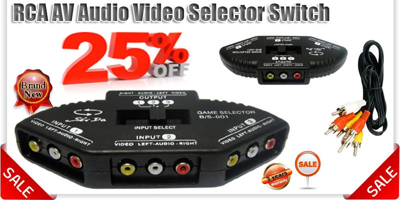 3 Way Audio Video Av Rca Phono Selector Hub Switch Tv Dvd